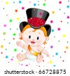 Cute baby in a top hat with party confetti - stock photo