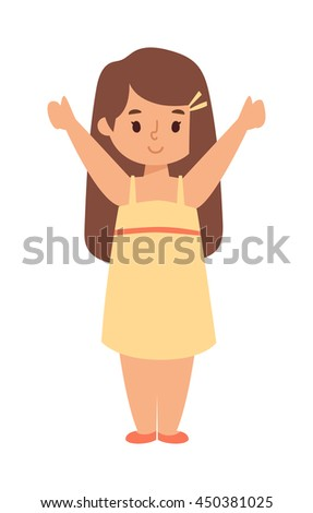 Cute baby kid girl and cute girl character vector. Cute girl beautiful fashion young female and cute girl dress kid love child. Cute girl dress kid love child and cute happy girl. Cartoon character. - stock vector