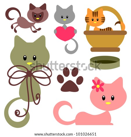 Cute baby kittens set - stock vector