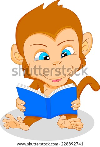 cute baby monkey reading - stock vector