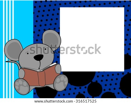 cute baby mouse reading background in vector format - stock vector