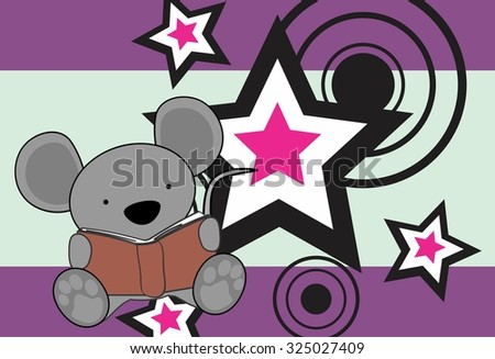 cute baby mouse reading cartoon in vector format very easy to edit - stock vector