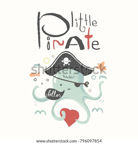 Cute baby octopus pirate suit cartoon stock photo photo vector cute baby octopus in a pirate suit cartoon hand drawn vector illustration can be used stopboris Image collections