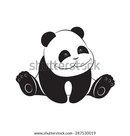 Cute baby panda - stock vector