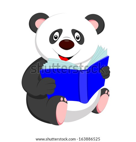 cute baby panda reading  - stock vector