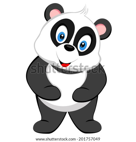 cute baby panda smile - stock vector