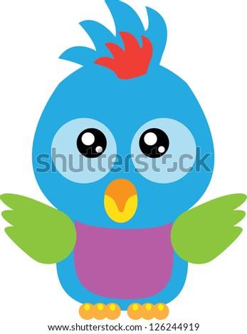 Cute baby parrot - stock vector