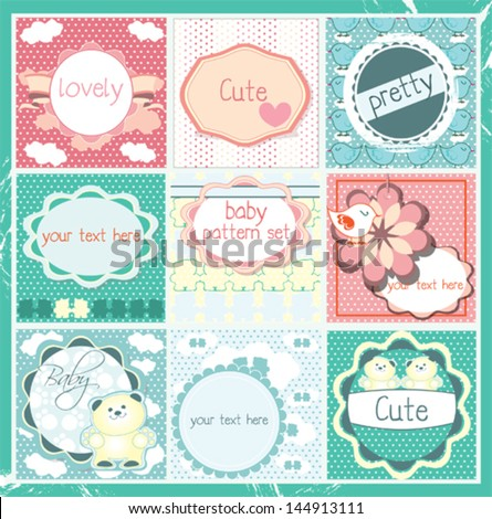 Cute baby pattern frames and labels set