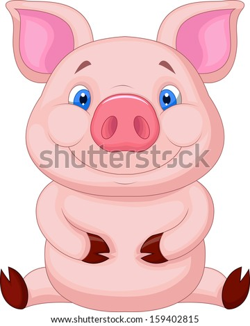 Cute baby pig sitting - stock vector