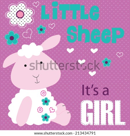 cute baby sheep girl with flowers vector illustration - stock vector