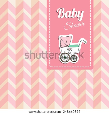 Cute baby shower card, invitation with baby carriage, vector illustration background - stock vector
