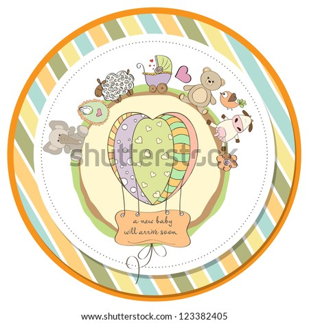 cute baby shower card with animals and toys - stock vector
