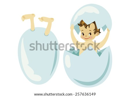 Cute baby shower image. Newborn baby get out from an egg. Smiley Easter child in the egg. - stock vector