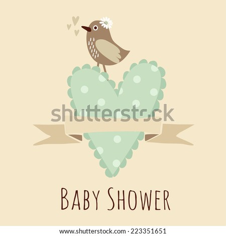 Cute baby shower invitation, birthday card with bird and heart, vector illustration background - stock vector