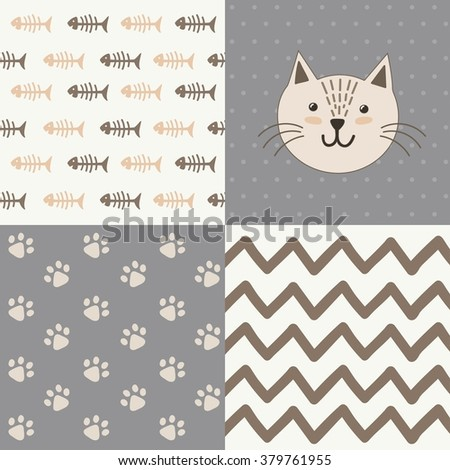Cute baby shower pattern with a cat. Vector design set - stock vector