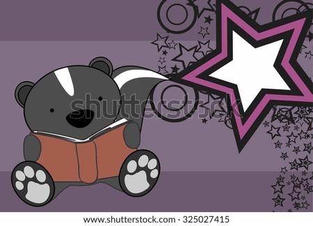 cute baby skunk reading cartoon in vector format very easy to edit - stock vector
