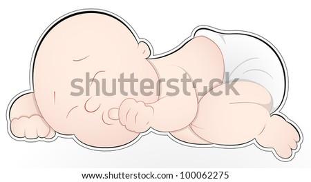 Cute Baby Sleeping Vector - stock vector