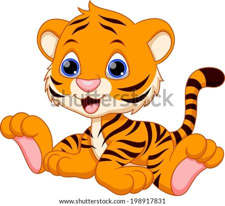 Cute baby tiger cartoon - stock vector