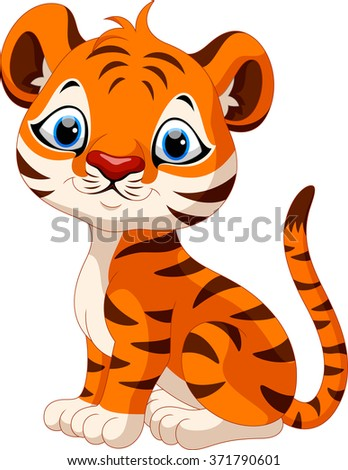 Cute baby tiger cartoon sitting - stock vector