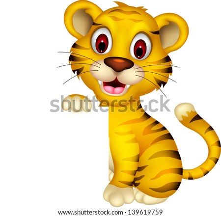 cute baby tiger with blank sign - stock vector