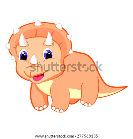 Cute baby triceratops dinosaur vector illustration Happy dino Cartoon animal Baby animal cartoon character Baby triceratops cartoon dinosaur vector EPS8 great for kids t shirt stamp - stock vector