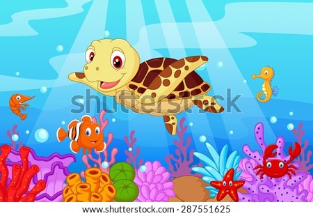 Cute baby turtle cartoon with collection fish - stock vector