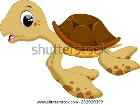 Cute baby turtles - stock vector