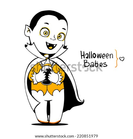 Cute baby vampire Dracula young, nipple bottle with fresh blood - stock vector