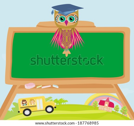 cute back to school illustration with owl - stock vector