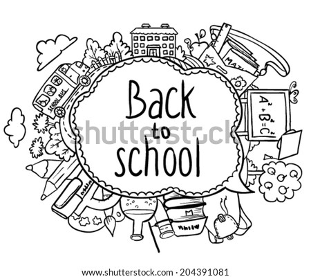 Cute back to school speech bubble - stock vector