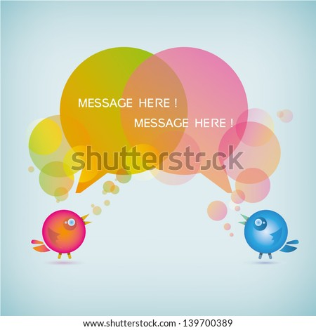cute background of birds's bubble message, bubble speech, chat background