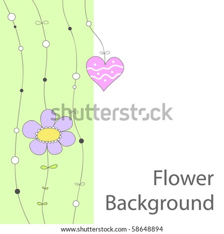 Cute background or greeting card with doodle flower and heart - stock vector