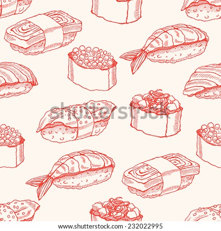 Cute background seamless background with delicious variety of sketch sushi. vector illustration