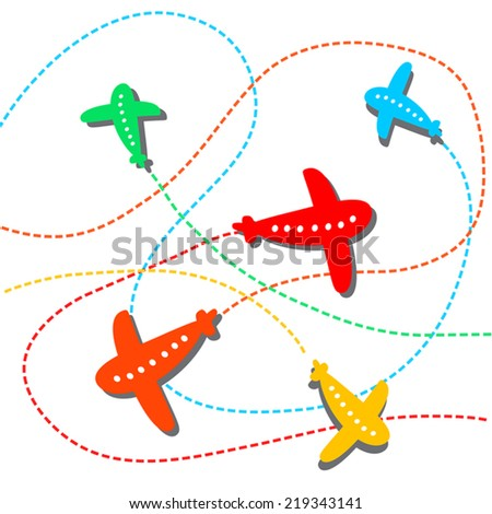 Cute background with colorful airplanes. Vector airplane illustration.Flat design.Isolated on white. Cartoon, childish. For kids tickets, birthday, amusement. - stock vector