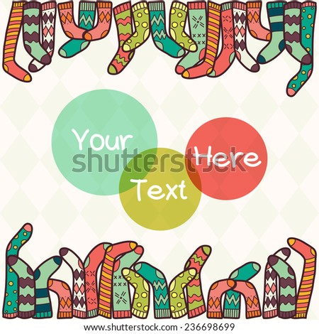 Cute background with colorful hand drawn doodle socks and place for the text. - stock vector