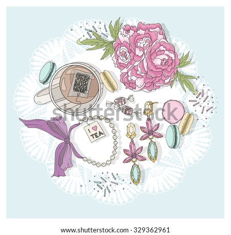 Cute background with cup of tea, flowers, macaroons and jewelry. - stock vector