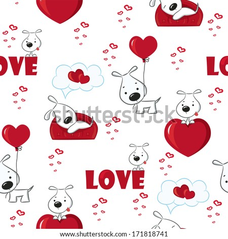 Cute background with dogs and hearts for Valentine's Day, seamless pattern, vector illustration