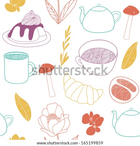 Cute background with floral elements - stock vector