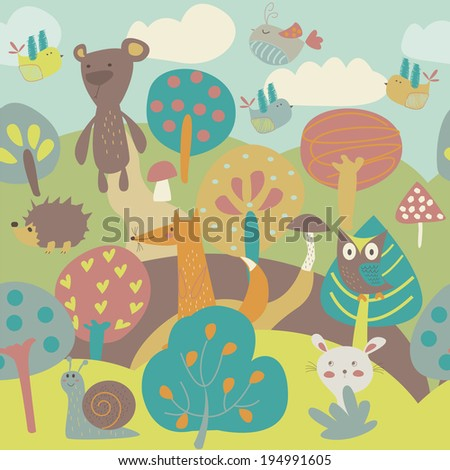 Cute background with forest animals, trees, birds, mushrooms in cartoon style