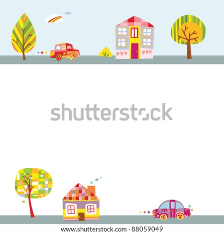 Cute background with landscape featuring colorful houses, adorable cars and trees. - stock vector