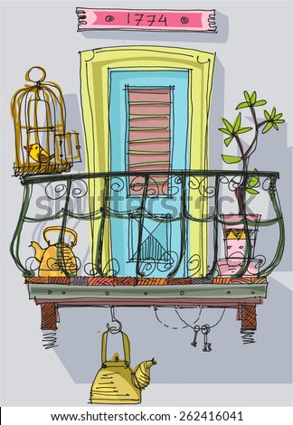 Balconies stock vectors vector clip art shutterstock for Balcony clipart