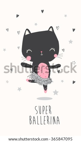 Cute ballerina cat illustration for apparel or other uses,in vector.  - stock vector