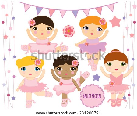 Cute Ballerina Dolls, Ballet Girls Dancing - stock vector