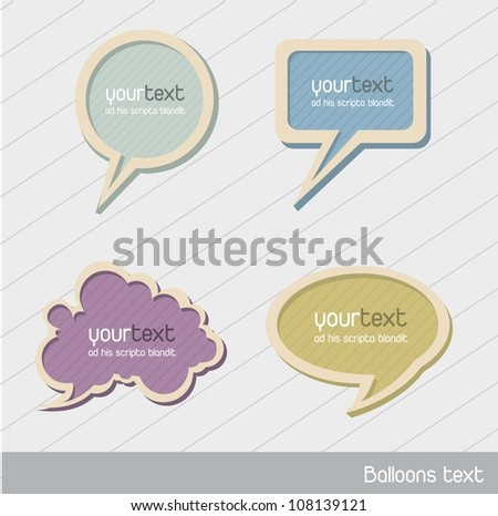 cute balloons text over gray background. vector illustration - stock vector
