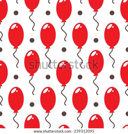cute  balloons. Vector seamless cute pattern with balloons and dots - stock vector
