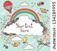 Cute banner with hot air balloons, birds, clouds and rainbow. Vector illustration with place for your text - stock photo