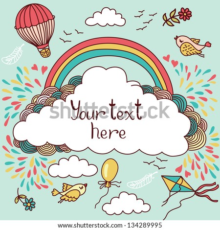 Cute banner with hot air balloons, birds, clouds and rainbow. Vector illustration with place for your text - stock vector