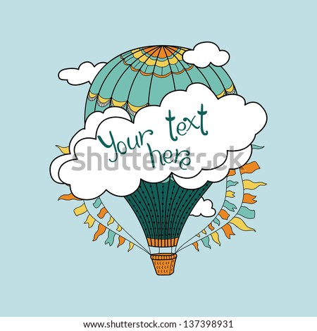 Cute banner with hot air balloons, clouds and place for your text - stock vector
