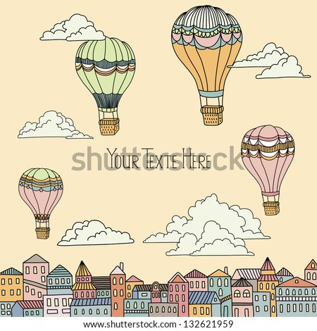 Cute banner with hot air balloons, houses and clouds - stock vector