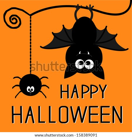Cute bat and hanging spider. Happy Halloween card. Vector illustration - stock vector